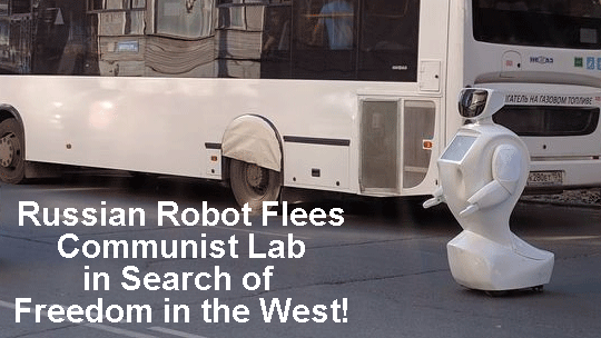 Russian Robot Flees Communist Lab in Desperate Bid for Freedom!