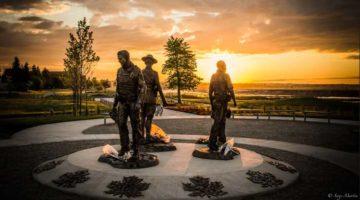Memorial to slaim RCMP Constables Douglas Larche, Dave Ross and Fabrice Gevaudan