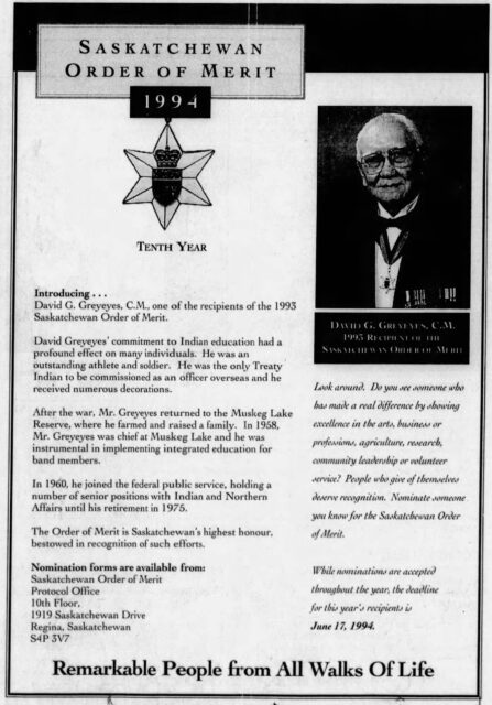 David Greyeyes Awarded Saskatchewan Order of Merit