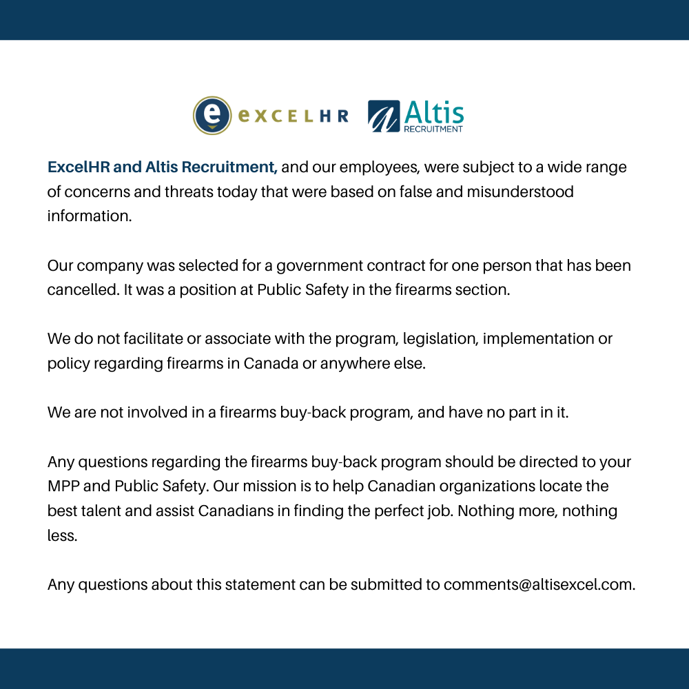 Altis Recruitment Statement on Firearms Confiscation Program