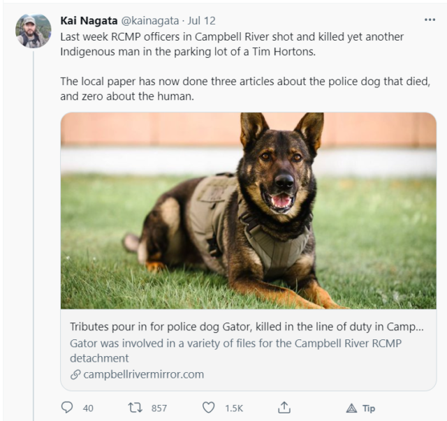 Kai Nagata Tweet about Campbell River Mirror's coverage of the killing of Jared Lowndes